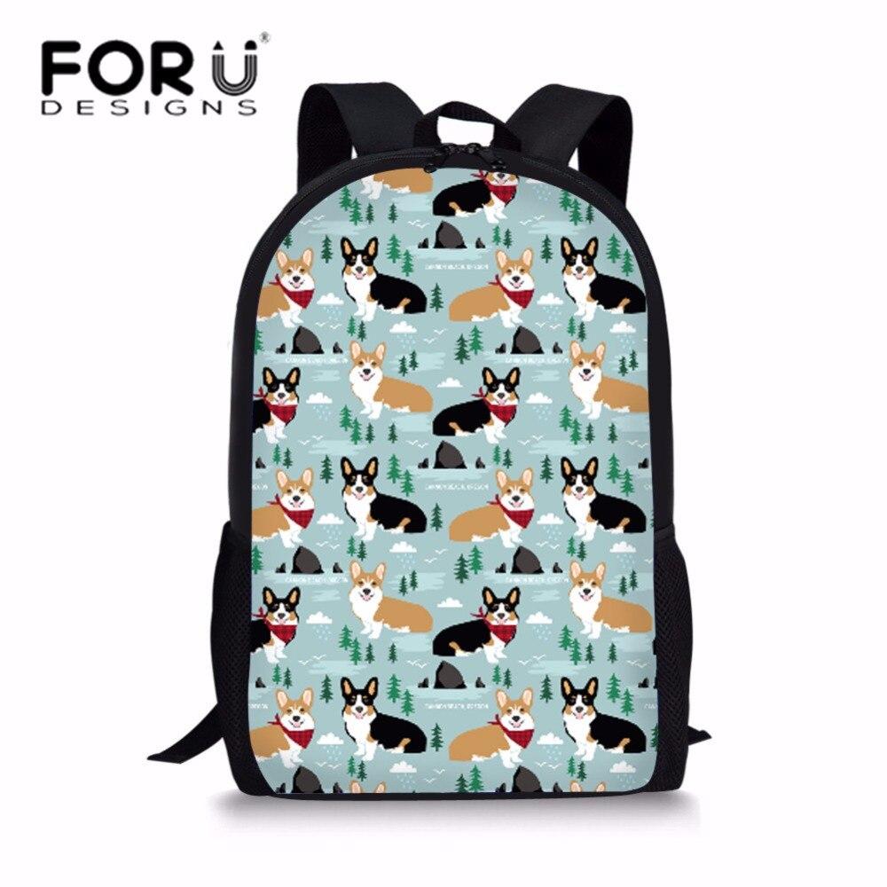 FORUDESIGNS/детская школьная сумка-рюкзак милые корги печати рюкзаки младенческой Дети сумка Школа сумка рюкзак Mochila Escolar