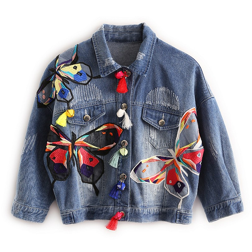 Farverige Butterfly Broderi Ladies Jean Jackets Patch Designs Kvinder Denim Frakker Med Tassel Short Chaquetas Mujer Slim Jacket