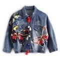 Coloridos Diseños Parche Bordado de La Mariposa de Las Señoras Chaquetas de Jean Para Mujer Abrigos Denim con La Borla Corta Chaquetas Mujer Chaqueta Delgada