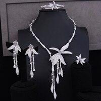 Популярный серебряный Африканский Свадебный комплект ювелирных изделий фианиты индийские свадебные ожерелья серьги, браслет, кольцо ювел