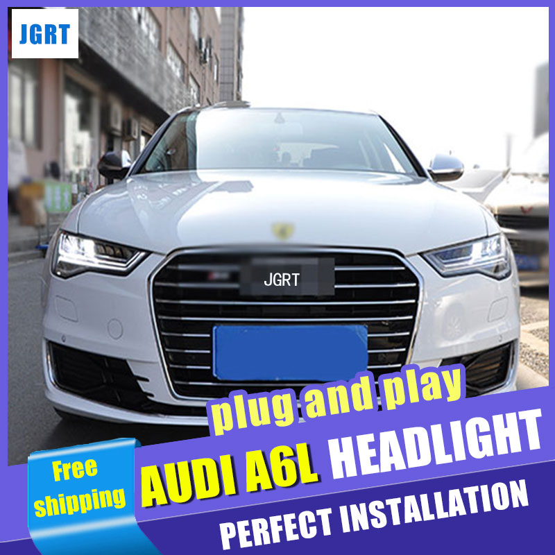 Car Styling Headlight assembly 2012-2016 for Audi A6L DoubleU Angel Eye LED DRL Lens Double Beam H7 hid kit with 2pcs.