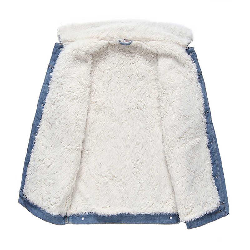 패션 겨울 자 켓 남자 블루 컬러 패치 디자인 가짜 양모 양고기 두꺼운 따뜻한 파 카 남자 outwear 벨벳 코트 데님 폭탄 자 켓