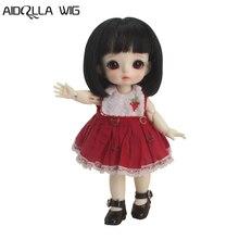 1/8 BJD / SD Doll Wigs Vampire Chloe Dolls Super Soft Black Short Hair with Air Bangs  5-6 Inch High-temperature wig