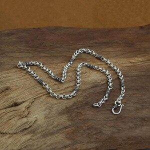 Image 2 - 4mm bambusowy naszyjnik 100% 925 srebrny łańcuszek modny naszyjnik mężczyzn biżuterii GN20