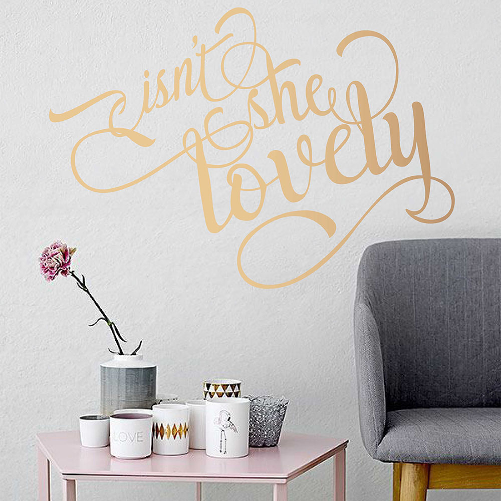 Isnt She Lovely Quotes Wall Decals Vinyl Calligraphy Style Wall Stickers for Walls Removable Decal For Bedroom Nursery 714Q