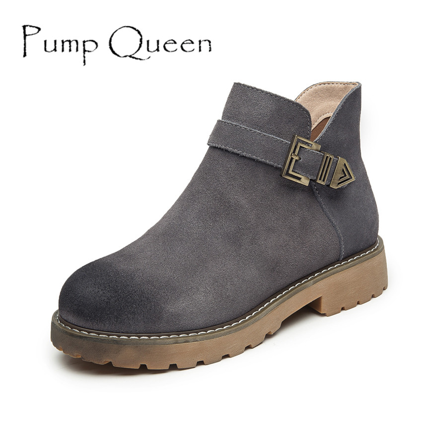 New Style Suede Genuine Leather Boots Women Round Toe Ankle Boot Female Vintage Motorcycle Short Boots Autumn Woman Shoes Mujer women ankle boots handmade genuine leather woman boots autumn winter round toe soft comfotable retro boot shoes female footwear