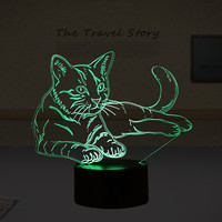 Lovely 7 Colors 3D Cat Night Light Animal Lamp LED USB 3D Illusion Light Acrylic Vision