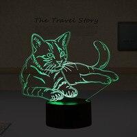Lovely 7 Colors 3D Cat Night Light Animal Lamp LED USB 3D Illusion Light Acrylic Vision
