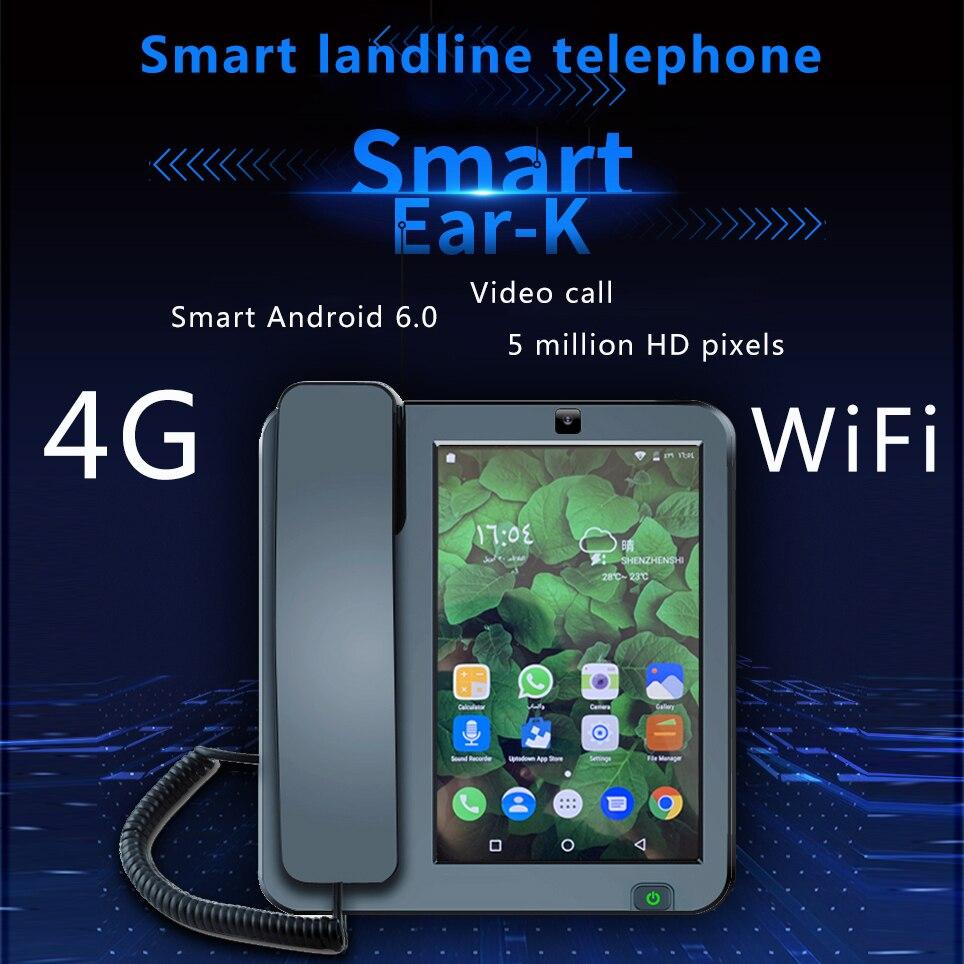 LTE inteligente 4G Fixo telefone fixo Sem Fio Android 6.0 com 4G SIM rede videofone glob idosos universais de vídeo WI-FI telefone móvel