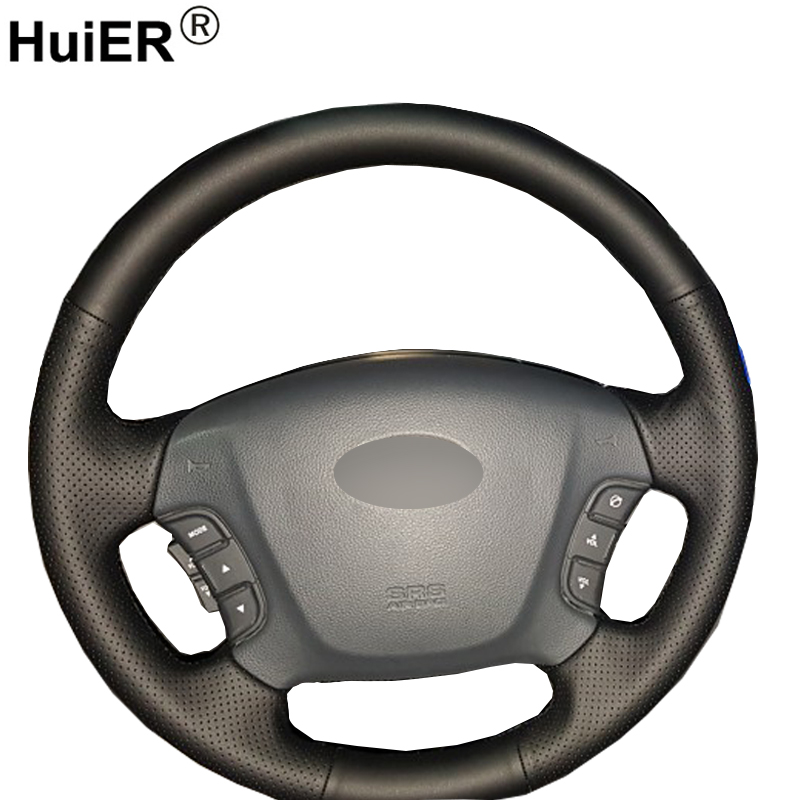 HuiER Hand Sewing Car Steering Wheel Cover Breathable Non-slip Black Leather For Kia Carens 2007-2011 Car Styling Car Accessorie diy top leather hand sewing car steering wheel cover black