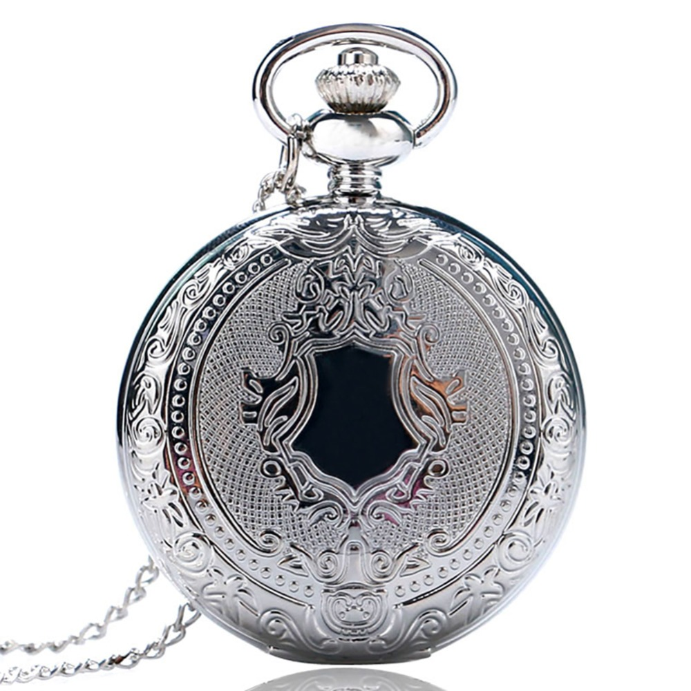 Fobs Reloj Mujer Vintage Retro Men Women Dress Gold Silver Shield Round Case Quartz Pocket Watch Chain Relogio De Bolso Gift