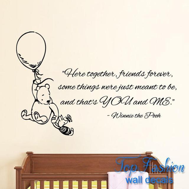 Muurstickers Winnie The Pooh Zwart Wit.Us 21 59 Hier Samen Vrienden Forever Muurstickers Quote Winnie De Pooh Vinyl Sticker Mural Kid Kamer Decor Maat 86x56 Cm In Hier Samen Vrienden