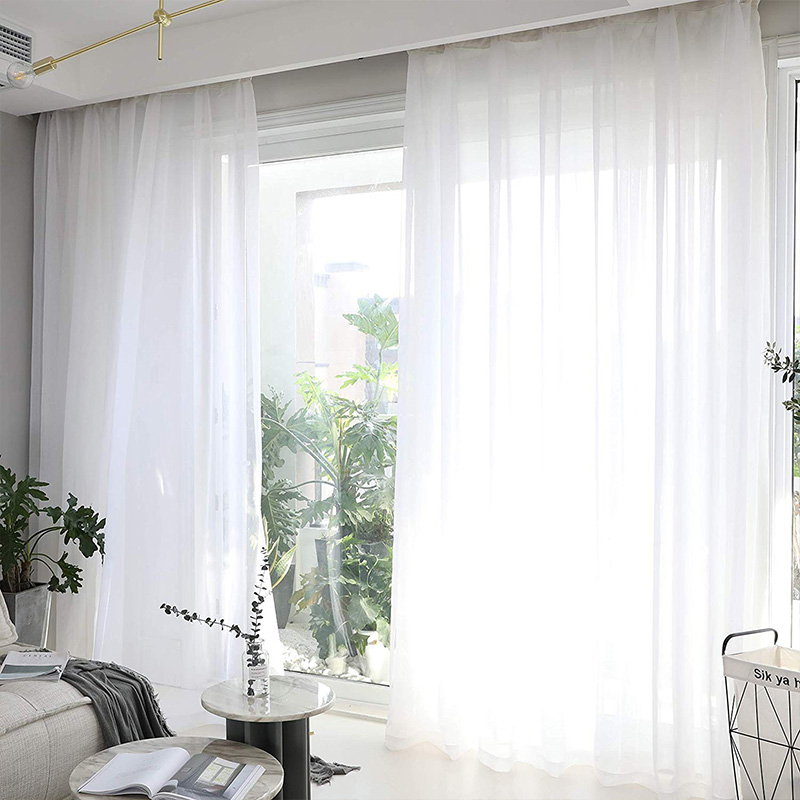 Made to Measure Cheap White Sheer Curtains for Living Room Bedroom Kitchen Door Window Treatments Voile Tulle Curtains White