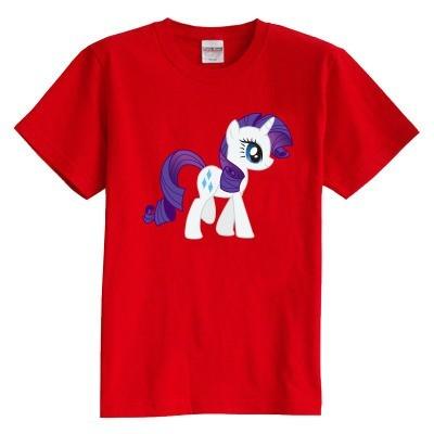 Niños camiseta del verano de manga corta 100% algodón de la muchacha del cabrito camiseta Arco Iris pequeño caballo
