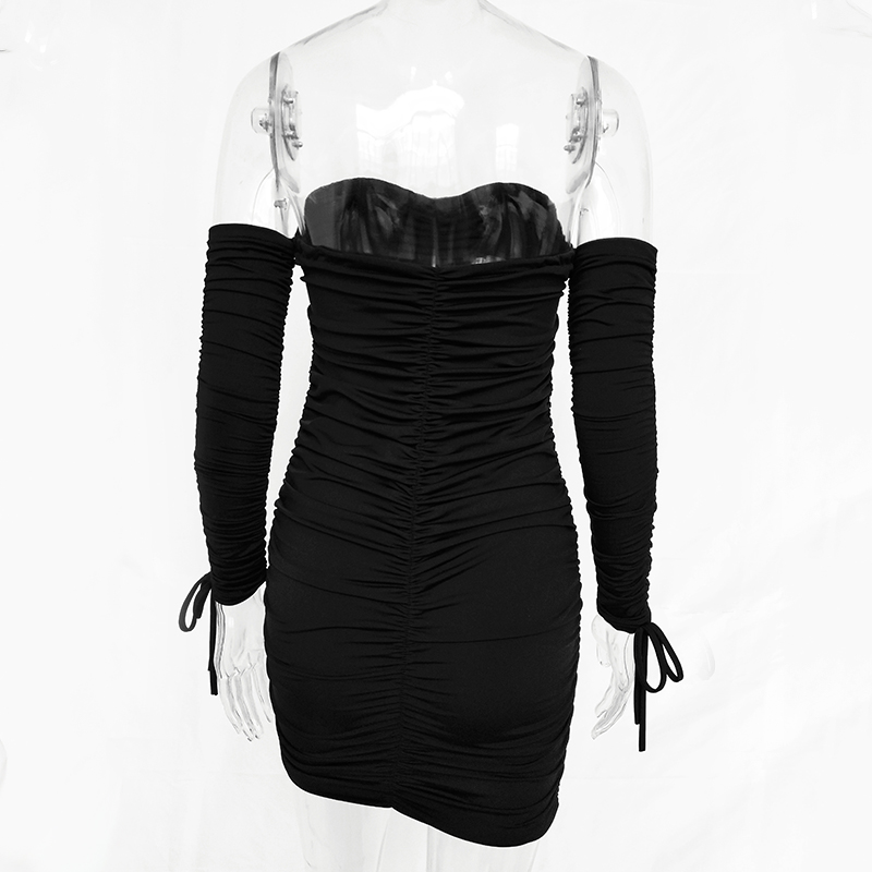 Off Shoulder Long Sleeve Slim Elastic Bodycon Dress 10
