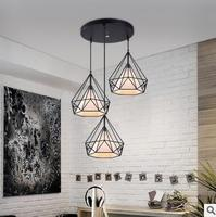 Modern Black Birdcage Pendant Lights Iron Minimalist Retro Light Scandinavian Loft Pyramid Lamp Metal Cage With