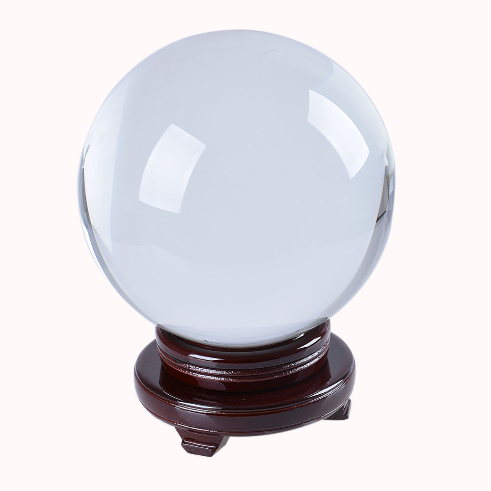 200mm Photography Crystal Ball Ornament FengShui Globe Divination Quartz Glass Ball Home Decoration Sphere Tabletop Decor