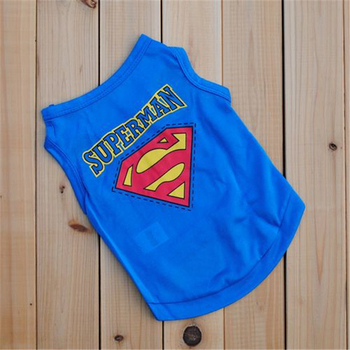 New arrival cheap polyester dog clothes puppy Pet clothing Superman summer dog vest breathable cool dog t shirt for small dog