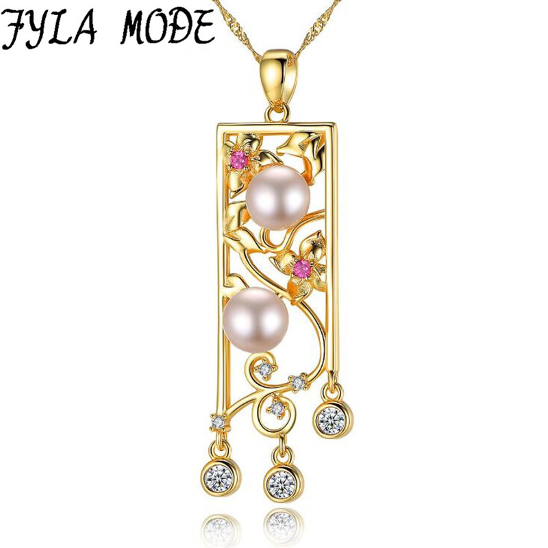 Пресноводный жемчуг Подвески и Ожерелья для мужчин двойной жемчуг с китайскими Стиль полые резные цветы для Для женщин золото Цвет Ювелирные украшения