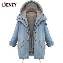 Lienzy Осенняя женская джинсовая куртка, пальто толстовки бойфренд Свободные Винтаж Сгущает 2 в 1 длинные женские Джинсовое пальто большой размер 4XL