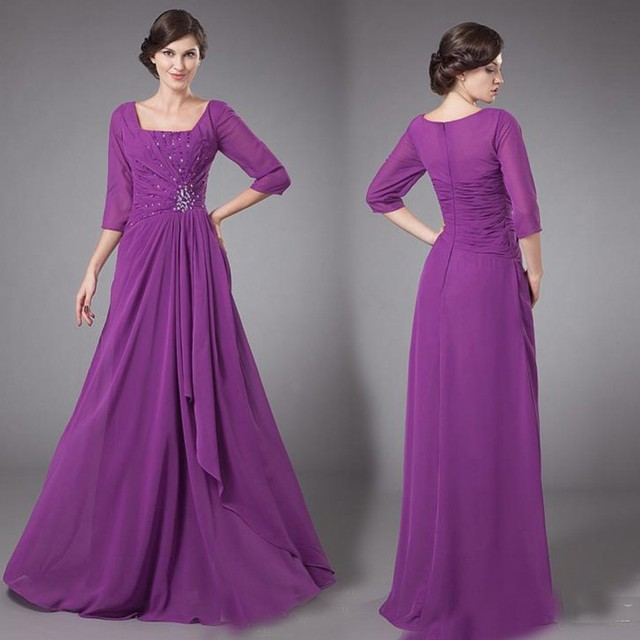 Purple Chiffon Long Modest Bridesmaid Dresses With 3 4 Sleeves Square  Beaded Formal Wedding Party Dress Maids of Honor Dresses 681641ed434f
