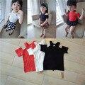 Crianças Verão T-shirt Ombro Off Top Crianças T-shirt Sem Encosto