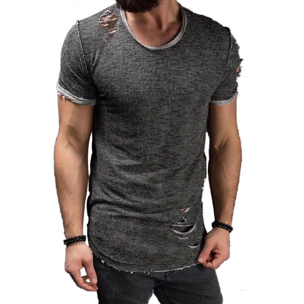 Ripped Men T-shirt Slim Fit Short Sleeve Tee Shirt Clothing Muscle Casual Tops  T Shirts Plus Size 2017 Men Summer Tshirt Clothes 7df94e9e5