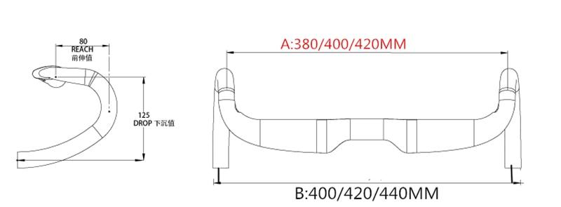 EC90 Road Racing Bicycle Matte / Gloss Internal Carbon Handlebars Full Carbon Handlebar 31.8 * 400/420 / 440mm