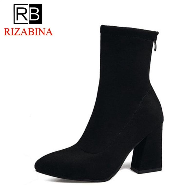 RizaBina Women High Heel Boots Pointed Toe Zipper Mid Calf Women Shoes Fashion Classic Short Boots Woman Footwear Size 35-39