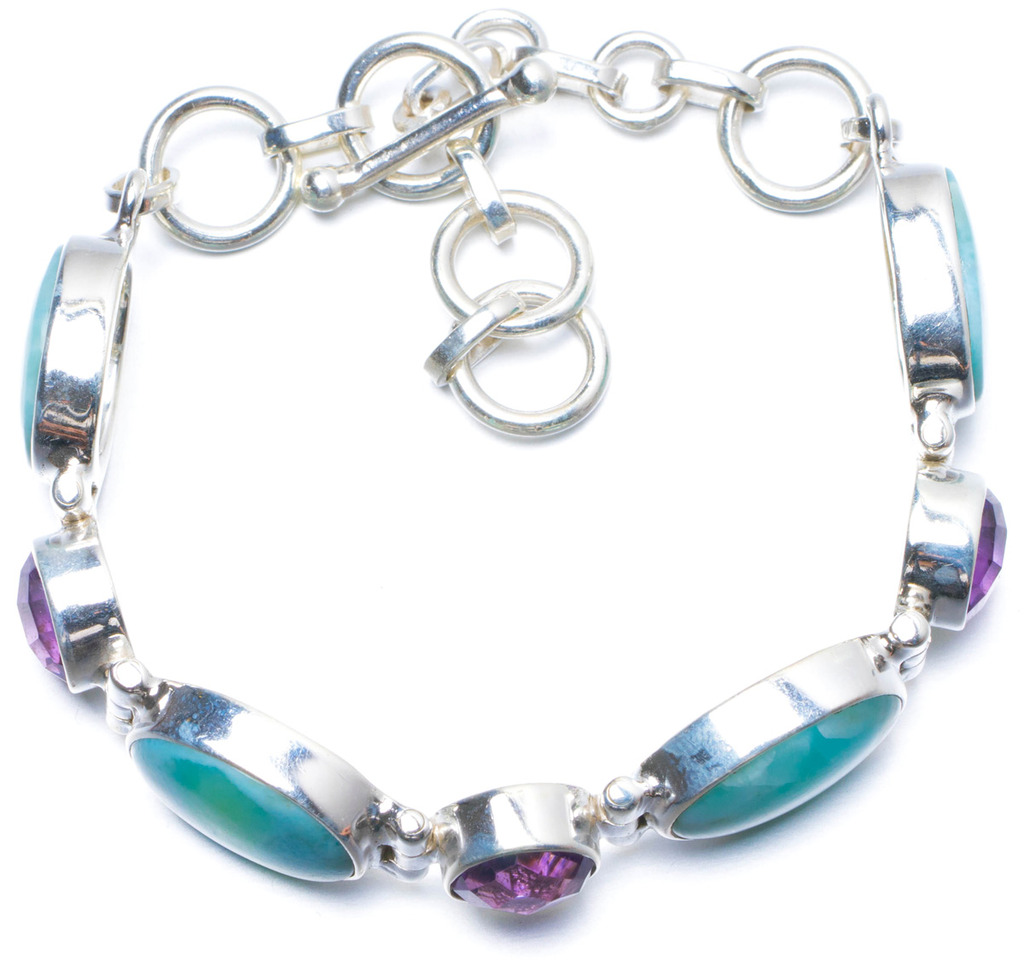Natural Caribbean Larimar and Amethyst Handmade Unique 925 Sterling Silver Bracelet 6 1/4-7 1/2 Y0098