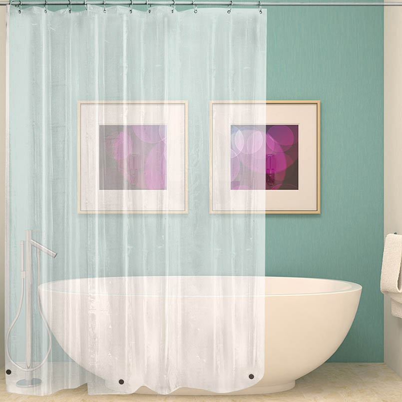 PEVA Shower Curtain Transparent Liner With Magnets Bottom