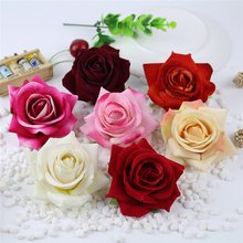 25pcs/bag roses flower Heads artificial flowers silk Flowers DIY wall Fake wedding car decor home