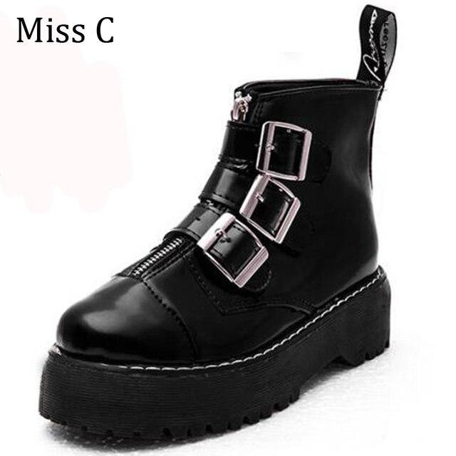 Triple Buckle Platform Women Shoes Preppy Style Boots Women's Autumn Thick Heel Punk Shoes WBS132