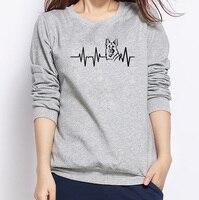 2018 Paw Hartslag Levenslijn Hond Print Hoodies Vrouwen Casual Grappige Sweatshirts Voor Dame Meisje Hipster Winter Warm Truien