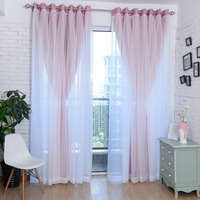 Solid Pink Blackout Curtains for Living Room Bedroom Blackout + Sheer Curtains Window Treatments Cortinas Drapes Children A31