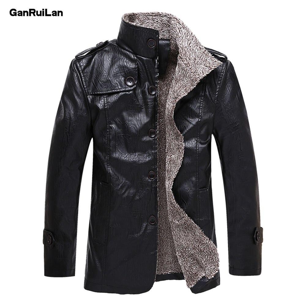 2018 New Winter Men's Leather Jackets 5XL 6XL Stand Collar Long Coats Men Windbreaker Fleece PU Leather Male Jacket JK18027