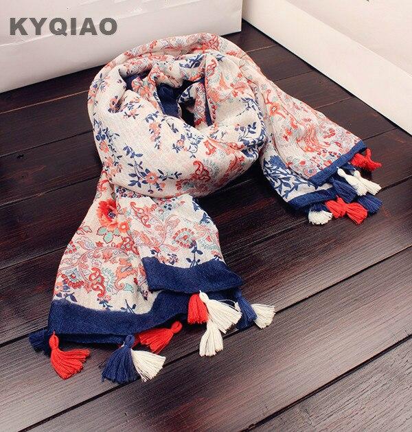 KYQIAO Mori filles hiver Japonais style ethnique bohème longue imprimer  glands écharpe 2018 hijab écharpe cape châle muffler wrap 362f5c525ea