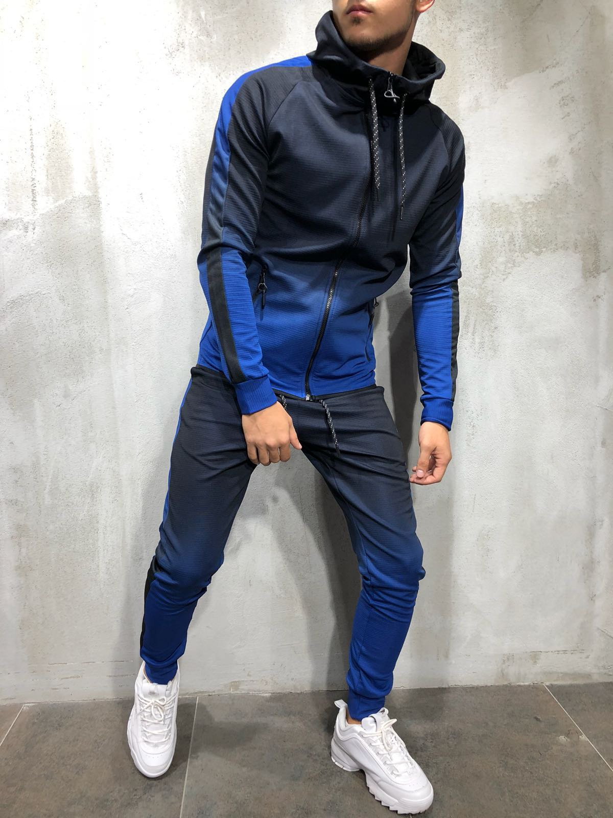 Tracksuit For Men 2 Pieces Set 3D Gradient Print Zip Hip Hop Sport  Men's Suit Men Sweat Suit  Tracksuit