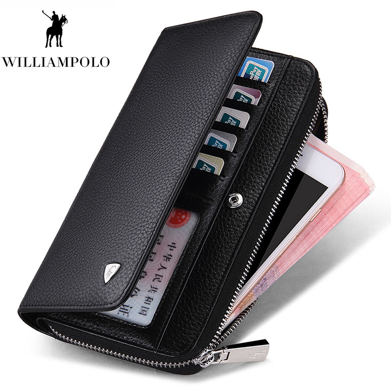 WILLIAMPOLO 100 Real Leather Luxury Business Style Zipper Hasp Desinger Wallet Purses Clutch Bag Man PL131