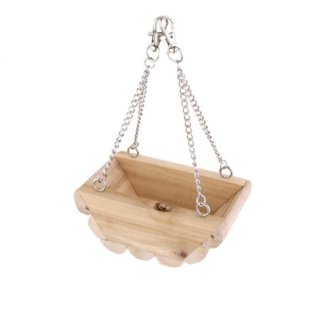 Haustierbedarf Holz Hängenden Boot Schaukel für Maus Papagei Vogel Katze Hamster Spielzeug