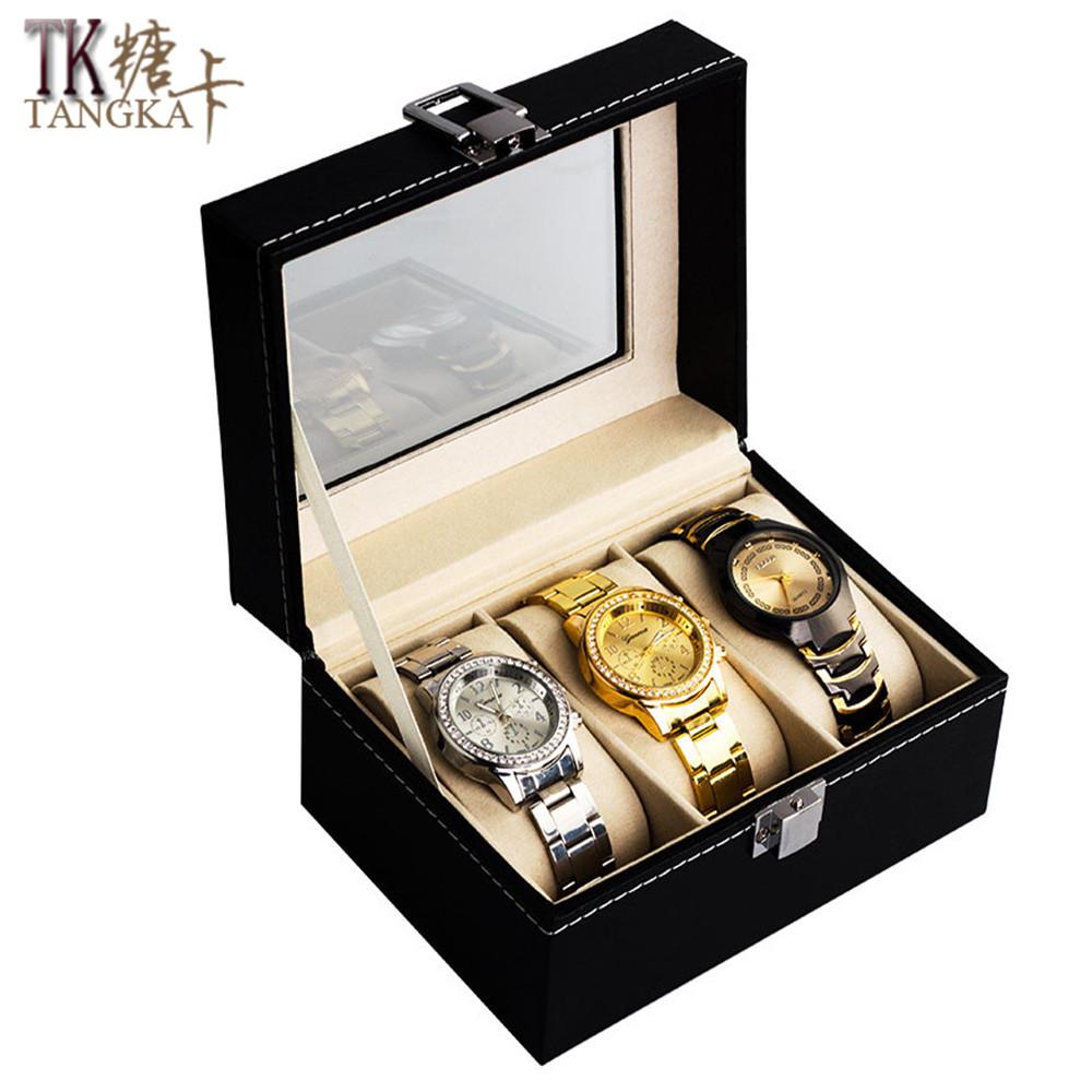 Prix pour Fshion De Luxe marques Montres Boîte En Cuir Noir 2 grille 3 grille 5 grille Bijoux Affichage Collection Cas Montre Organisateur De Stockage boîte
