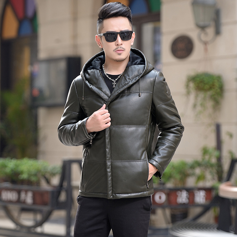 2018 New Fashion Winter Brand Leather Jacket Composite Leather Hooded Design Trend Leather Jacket High Quality Coat Outwear