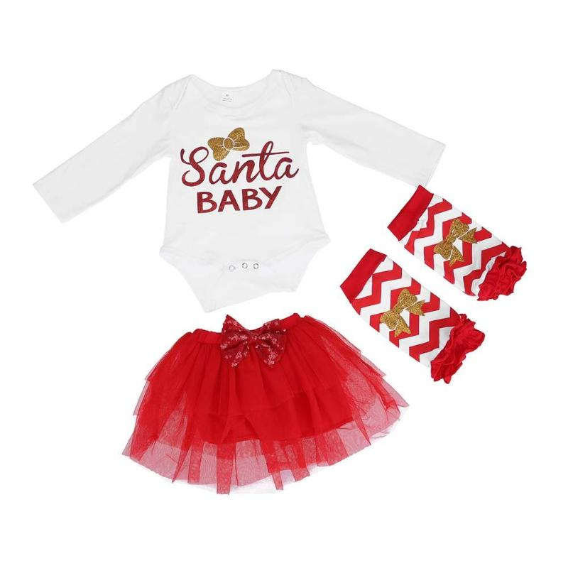 Baby Outfit Romper Christmas Infant Newborn 3pcs/Set Cute Skirt Letter Kneepads Printed