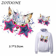 ZOTOONE Iron on Patches for Clothes Heat Transfer Fashion Star Cat Patch A-level T Shirt Sticker DIY Accessory Applique Kids