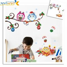 Lovely Owls On Tree Branch Wall Decals For Kids Room Christmas Decoration Cartoon Animal Stickers Xmas Mural Art Pvc Poster