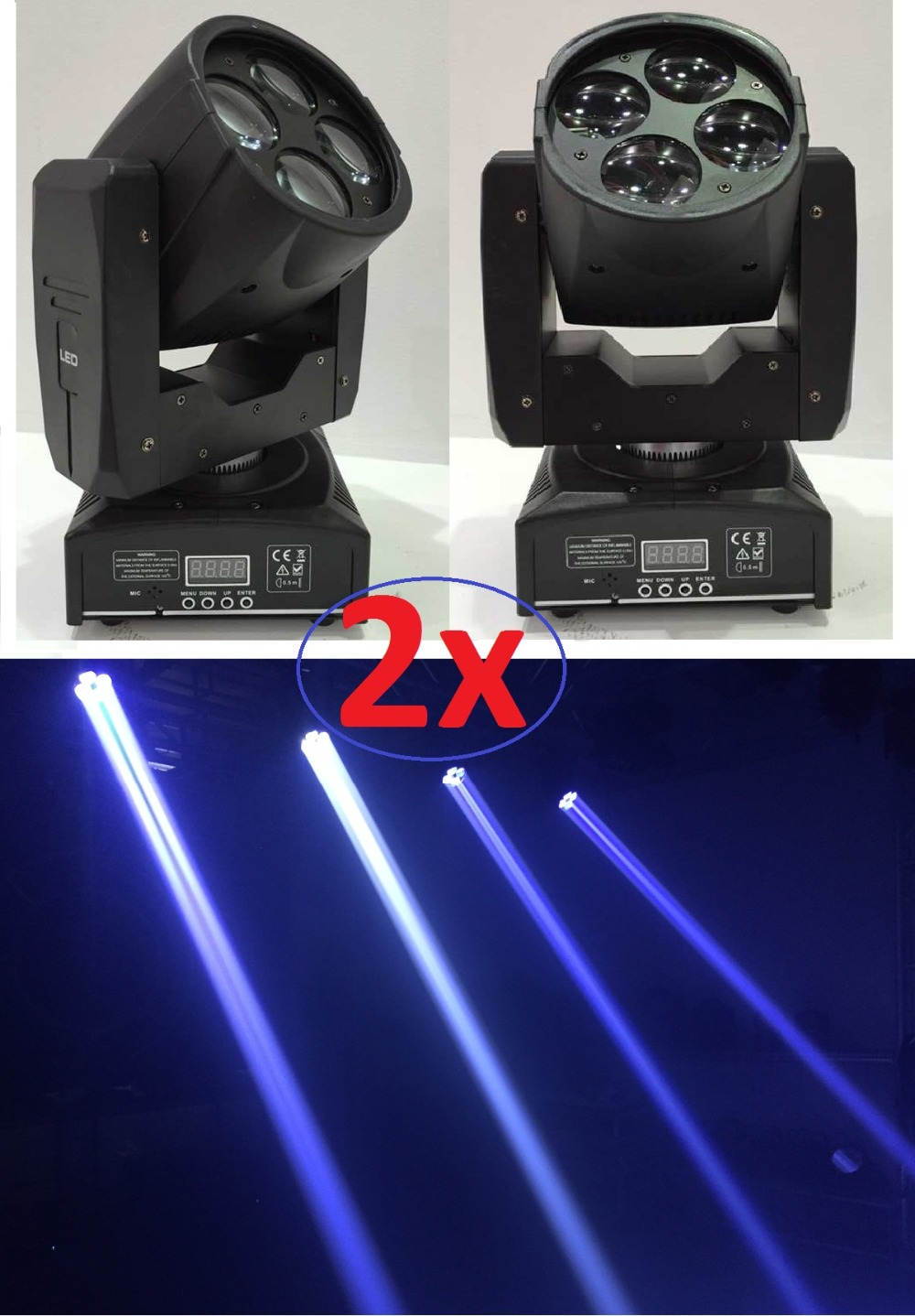 2xLot CREE 60W Led Moving Head Spot Effect Light 4x15W Suprt Beam Wash Mini Lighting DJ KTV Disco Stage Lights RGBW White Colors