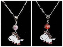 10PCS Drop Glaze Pretty Horse&Glass Flower Bead Charm Pendant Popular Short Clavicle Necklace Banquet Jewelry DIY For Women G265