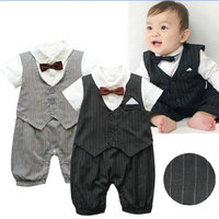 3 Sizes Gentleman Baby Kids Boy Bowtie Stripe Romper Jumpsuit Clothes Outfit Hot Selling