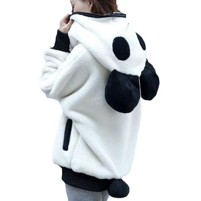Chapéu de Panda De Pelúcia Kawaii Urso Moletom Com Capuz Casacos Feminino Suéter de Lã Mulheres Jaqueta Casaco Oversize Jaqueta Feminina Básica Solto Manguito Bat