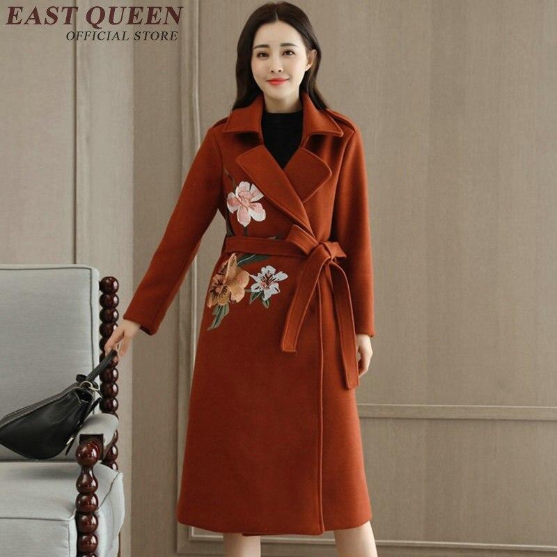 Women trenchcoat autumn winter fashion trench coat for women embroidered coats winter coat women 2017 KK1867 H